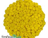 6/0 Lemon Yellow Seed Beads - sold in one ounce packs - 480 beads to an ounce - approx 4.0mm diameter - Czech glass beads