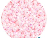 6/0 Pearlized Pale Pink Seed Beads - sold in one ounce packs - 480 beads to an ounce - approx 4.0mm diameter - Czech glass beads