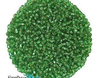 10/0 Lime Green Silver Lined Seed Beads - sold in one ounce packs - 2200 beads to an ounce - approx 2.3mm diameter - Czech glass beads