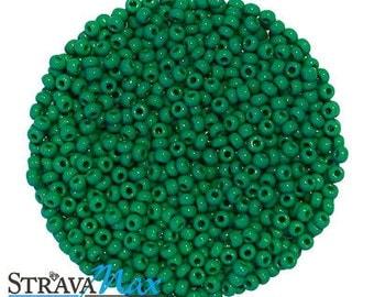10/0 Medium Dark Green Seed Beads - sold in one ounce packs - 2200 beads to an ounce - approx 2.3mm diameter - Czech glass beads
