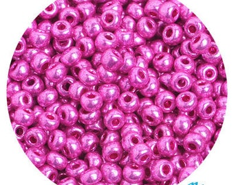 6/0 Metallic Pink Seed Beads - hot metallic color pink beads - czech glass rocailles - great for crochet, bead weaving, jewelry