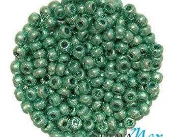 6/0 Metallic Green Seed Beads - light medium metallic color green beads - czech glass rocailles - great for crochet, bead weaving, jewelry