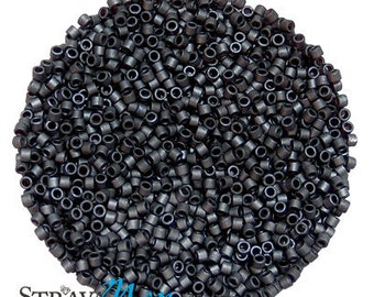 DB-0306 11/0 Miyuki Delica Seed Beads - charcoal grey color - opaque matte luster - round cylinder seed beads