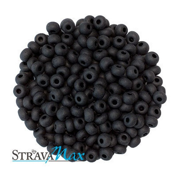 6/0 Matte Black Seed Beads - sold in one ounce packs - 480 beads to an ounce - approx 4.0mm diameter - Czech glass beads