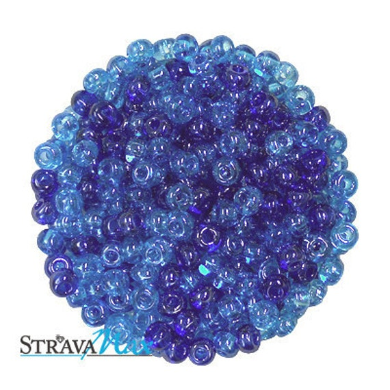 6/0 Blue / Aqua Luster Mix Seed Beads - transparent blue pony beads - Czech glass rocaille seed beads - choose your own discount