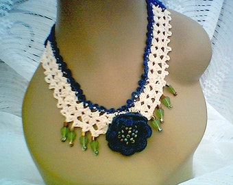 Beaded Navy Rose Necklace,Cotton Necklace Cascading Glass Leaves,Handmade Mercerized Necklace by CarussDesignZ