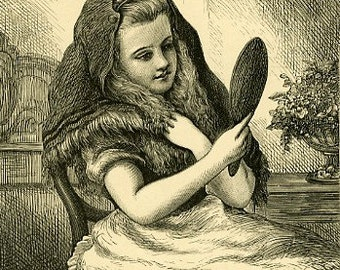 8x10 Print  - Girl With Mirror - From Pen and Ink Illustration 1887
