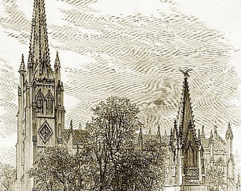 Package of 12 Blank Note Cards,  NYC- Churches, St. Patricks and Trinity From 1875  Book Iluustration.