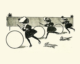 8x10 Print  -3 Girls Playing Hoops- From 1905 Children's Book Illustration