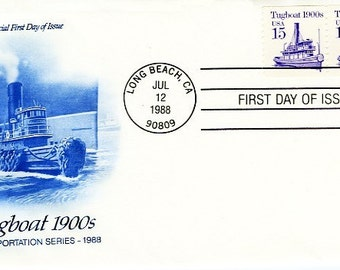 First Day Cover Tugboat 1988