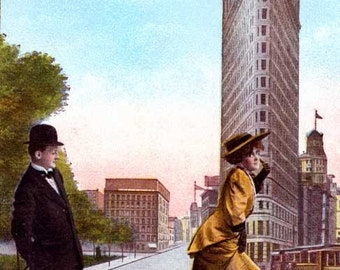 Print  Flatiron Building, -Great Things from Vintage Postcard.