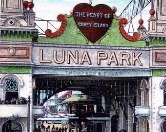 12x18 Inch Print -NYC-Coney Island, Luna Park Entrance, from Vintage Postcard.