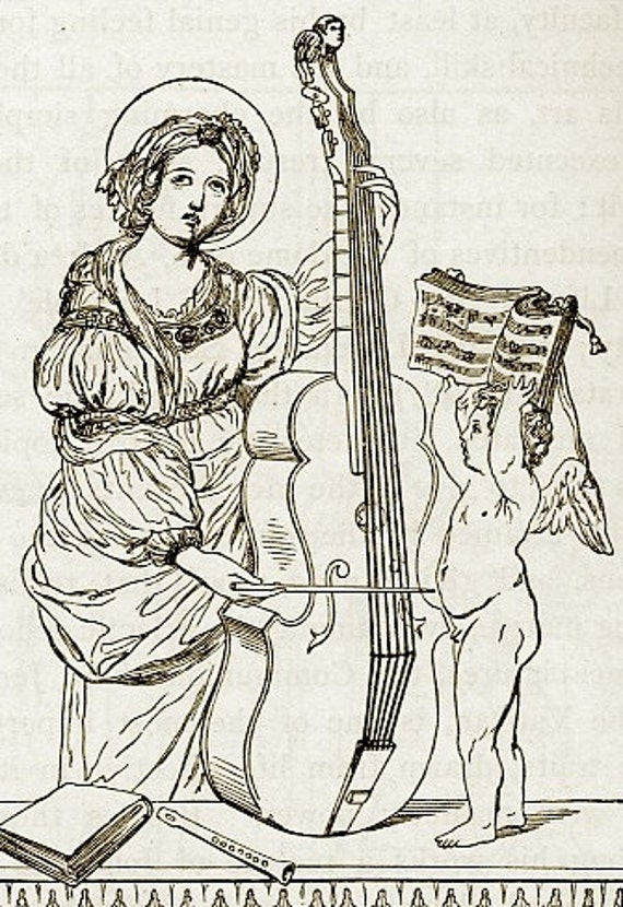 Package of 12 Blank Note Cards,  St. Ceclia, Patron Saint of Musicians From 1877 Pen and Ink Book Iluustration.