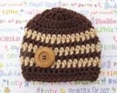 Newborn Hand Crocheted Boys Beanie Hat with wooden button