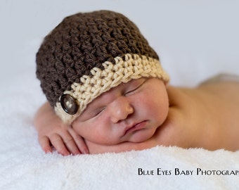 Newborn Baby Boy Beanie Cap With Button -Hand Crocheted