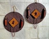 Leather Garnet Stone Earrings  (E498)