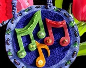 Lets Dance Suede Music Note Necklace  (793)