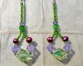 Purple N Kiwi Crystal Earrings  (E51)
