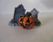 Miniature Pumpkin Classic Jack O Lantern sculpture