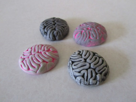 Zombie Brain cabochon flat back gray mix