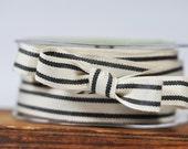 Organic Cotton Striped Black Ribbon - 5 yards