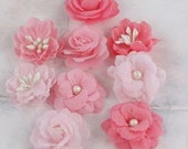 """1"""" Fabric Flowers in three shades of Pink- set of 9"""