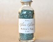 Robin's Egg Blue Glass Glitter In Apothecary Bottle 1oz