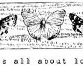 Butterfly and Script Rubber Cling Stamp - Unity