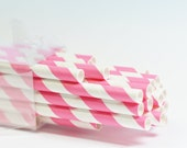 25 Tropical Pink Stripe Paper Straws
