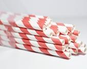 25 Red Striped Paper Straws