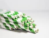 25 Grass Green Striped Paper Straws