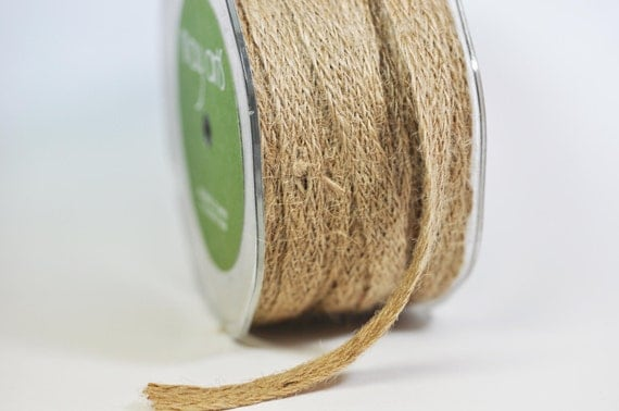 Spool of Natural Woven Burlap Ribbon - 20 yards