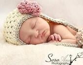 Snowbunny Glam, pom pom earflap hat