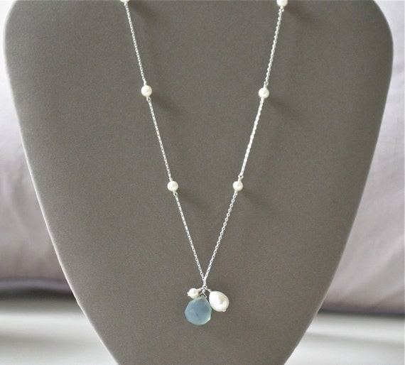 Blue Drop Necklace - Sterling Silver and Pearl Necklace with Beautiful Blue Drop Pendant