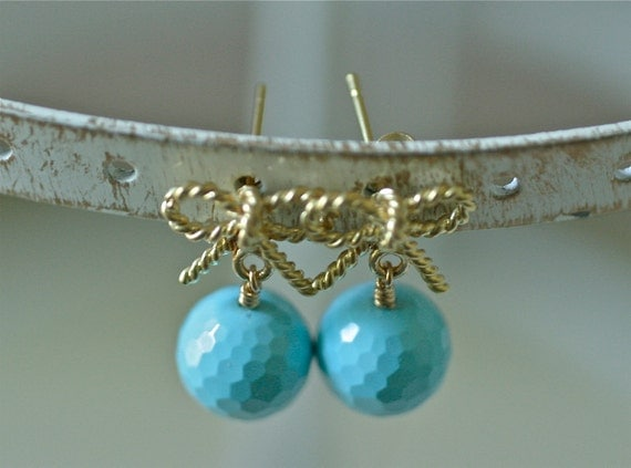 Fiocchi Turchesi - Vibrant Faceted Turquoise and Gold Bow Earrings
