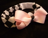 Checkerd Baby Headband with Pink bow -Reserved for Sparklezstars -