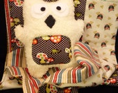 Owls and mushrooms swaddle Quilt and Plush -RESERVED-