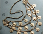 Art Deco Golden Bib Necklace with Textured Discs-Egyptian Revival