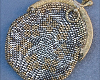 Victorian Metallic Micro Beaded Chatalaine Purse