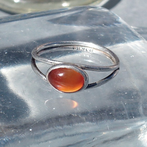 1930's Silver Ring with Orange Stone