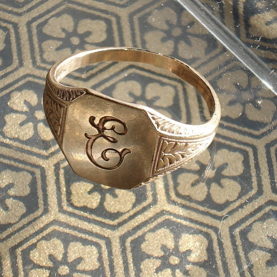 Clark and Combs Gold Signet Ring--Intial E