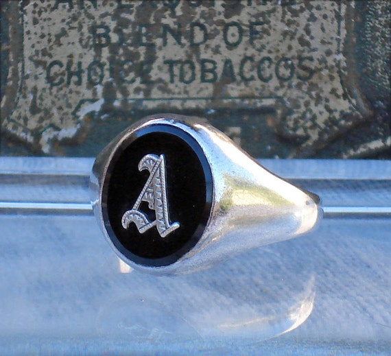 Temporary Hold For Dollie /// Art Deco Clark and Coombs Sterling and Onyx Signet Ring--Intial A