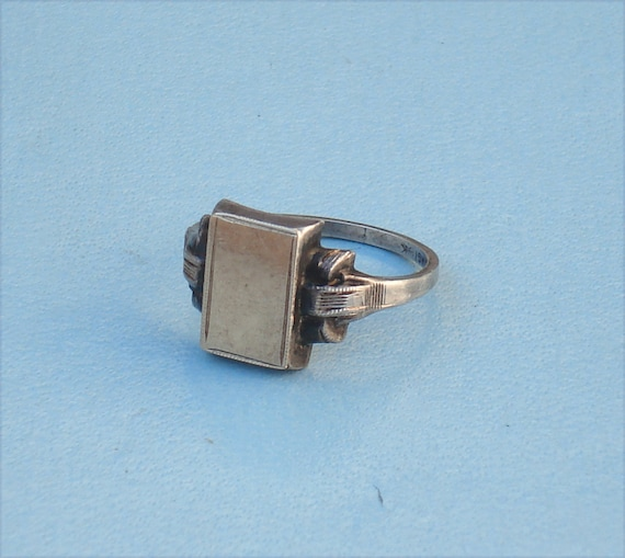 Art Deco Sterling Silver and Gold Signet Ring
