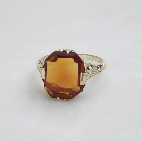 Edwardian 14K Filigree Ring with Citrine