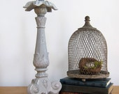 RESERVED FOR BARBARA French Shabby Chic Candle Stick Paris Grey Upcylced