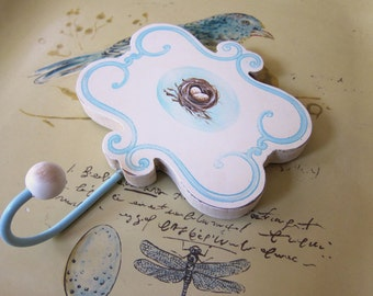 French Country Wall Hook  Shabby Chic Farmhouse Bird Nest Aqua Blue Cottage Chic Baby Room Decor Apron Hook Farmhouse Kitchen