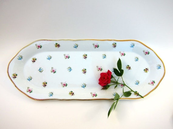 Vintage Shabby Chic Cottage Rosebud and Pansy Porcelain Serving or Vanity Tray