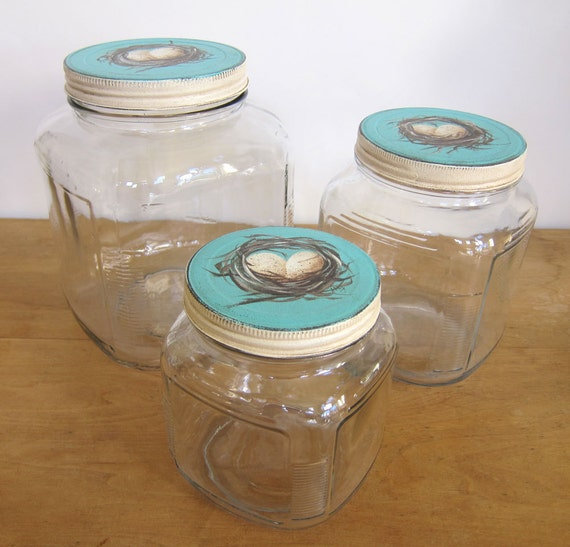 3 Piece French Country Farmhouse Cottage Chic Vintage Style Storage Jar Canister with Nest and Eggs