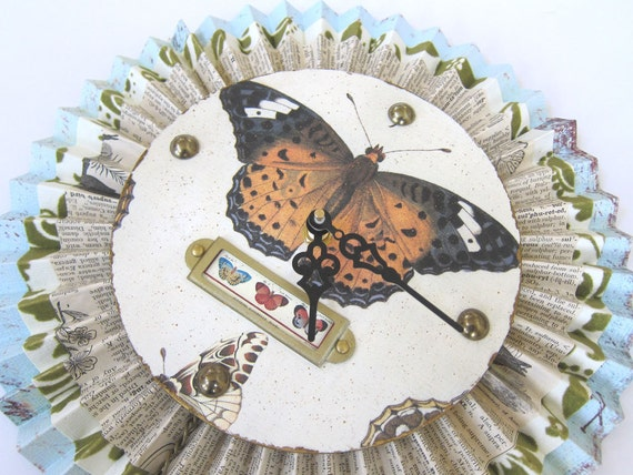 Natural History Butterfly Speciman Paper Medallion Wall Clock Orange and Blue Shabby Chic Cottage
