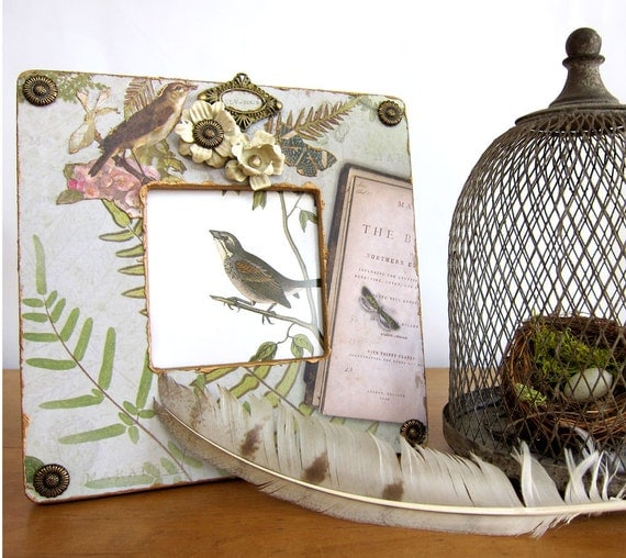 Cottage Chic Dragonfly Picture Frame with Birds and Butterflies Green